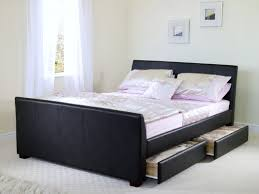 bedroom design black leather storage platform bed frame full with