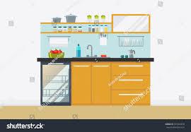 modern kitchen ware modern kitchen appliances dishwasher sink kitchenware stock vector