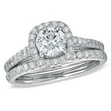 engagement rings from zales 1 3 4 ct t w halo bridal set in 14k white gold