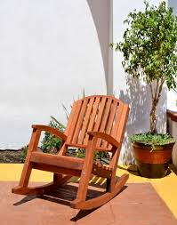 Outdoor Wood Rocking Chair Moon Inspired Solid Wood Rocking Chair With Arching Backrest