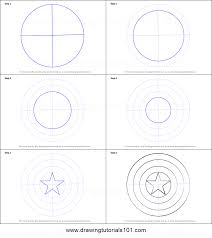 draw captain america shield printable step step drawing