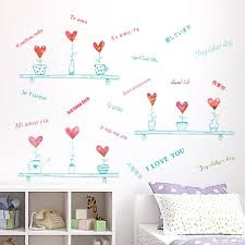 love heart shape potted plant wall stickers multi language love see larger image