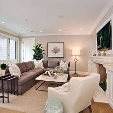 brown sofa living room ideas narrow living room tv above fireplace grey wall decor dark brown