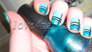 love4nailart striped turquoise nail art tutorial 4 beginners