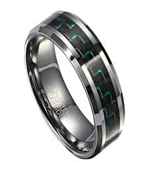 mens rings com images Tungsten men 39 s wedding band with green carbon fiber jpg