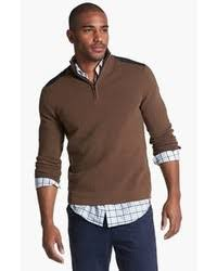 brown sweater how to wear a brown zip neck sweater 1 looks s fashion