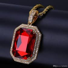 red gem necklace images Wholesale men 39 s hip hop cubic zirconia ruby pendant necklace jpg