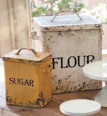 kitchen flour canisters set 2 vintage style metal flour sugar canister farmhouse country