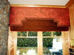 Cornice Curtains Home Accessories Pattern Red Cornice Valance With Gold Curtains