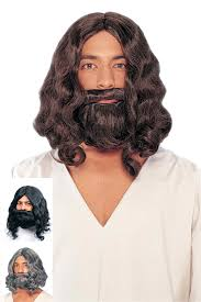 Jesus Costume Deluxe Biblical Wig And Beard Brown Black Gray Candy