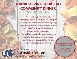dornsife center thanksgiving thursday community dinnerevent details