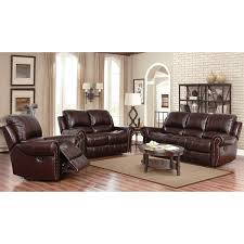 Overstock Living Room Sets Abbyson Broadway Top Grain Leather Reclining 3 Living Room