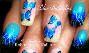 blue butterfly nails diy gradient nail art design tutorial youtube