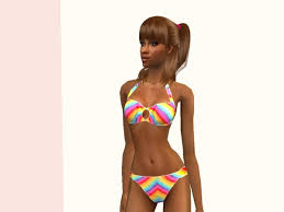 Liana Sims 2 Preview Women S Clothing Swimwear Mod The Sims Bright Rainbow By C C 13