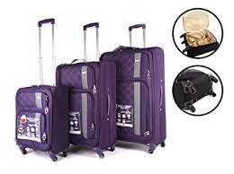 ultra light luggage sets purple aero1400 aerolite set of 3 world s lightest spinner suitcase