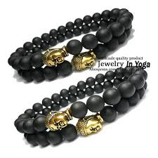 men bracelet bead images Black matte onyx beaded bracelet with gold buddha head mala yoga jpg