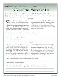 inference in literature the wizard of oz middle worksheets