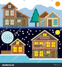 chalet houses set chalet houses winter stock vector 523653628
