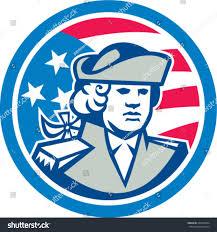Blue Flag Stars In Circle Illustration Patriot Bust American Stars Stripes Stock Vector