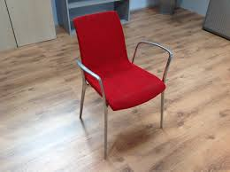 red fabric office conference meeting chairs with chrome metal arms