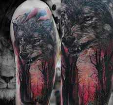 wolf in glowing forest mens half sleeve tattoos tattoos