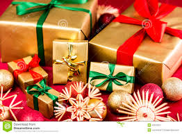 christmas bows for presents six golden presents with bows stock photo image 43916251