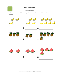 picture addition worksheets activity for kids math workshhets