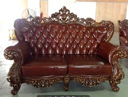 French Provincial FurnitureBrown Leather French Luxury King Sofa - Kings sofa