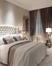 Mirror Curtain Deluxe White Bed With Tufted Headboard And Pretty Wall Mirror