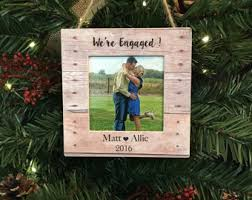 our first engaged christmas ornament personalized wood