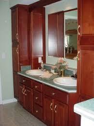 Linen Tower Cabinets Bathroom - double vanity with linen cabinet rustic alder double vanity with