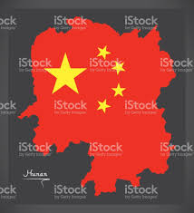 Chinese Map Hunan China Map With Chinese National Flag Illustration Stock