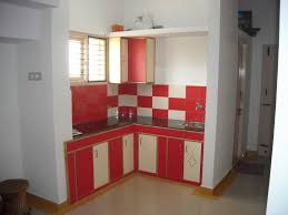 pretty red and white l shape mini kitchen design with floating