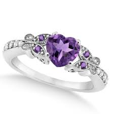 purple diamond engagement rings butterfly amethyst diamond heart engagement ring 14k w gold 1 73ct