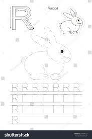 learn alphabet cute rabbit dot dot stock vector 570824737