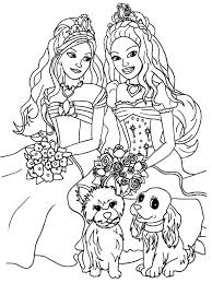 coloring pages for girls cute puppys from the dimend castel barbie