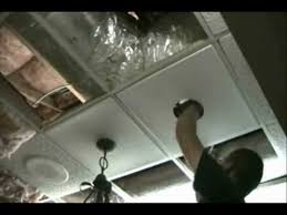 Installing Ceiling Tiles by Light Installation In A Ceiling Tile Youtube