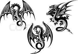 silhouettes of black dragon with outstretched wings and curved