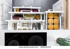 utensils organized kitchen drawers stock photo 674887315
