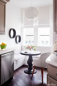 Orb Table L Kitchen With L Shaped Banquette Transitional Kitchen