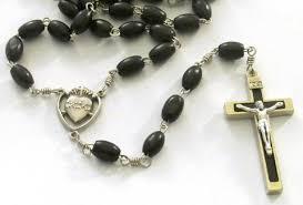 sacred heart rosary catholic black wood bead sacred heart medal black inlay crucifix