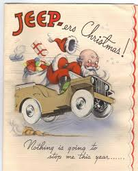 jeep wreath theme world war ii christmas card santa in the unstoppable ww2 jeep