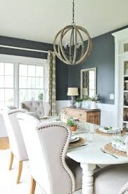 traditional blue dining room with wainscoting luxe interiors