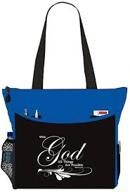 matthew 19 26 with god all things are possible bible cover tote