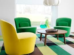 Round Chairs For Living Room by Stockholm Swivel Easy Chairs In Sandbacka Yellow And Green With