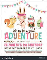 Bday Invitation Cards For Kids Kids Birthday Invitation Card Cute Cartoon Stock Vector 450937900