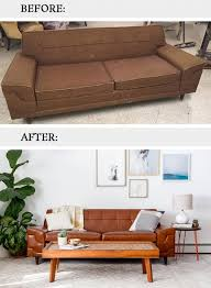 Midcentury Leather Sofa Before U0026 After Mid Century Tufted Leather Couch Dream Green Diy