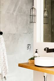 Black And White Powder Room Timber Matte Black Tap Ware Grey And White Palette In Powder