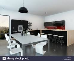 center island dining table contemporary modern open plan apartment interior with a stylish contemporary