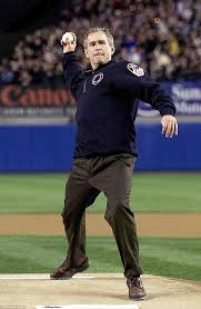 george w bush throws out world series pitch daily mail online